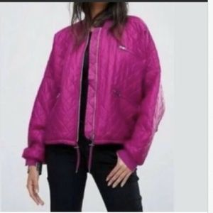 Free People Easy Quilted Bomber Jacket Pink NWOT